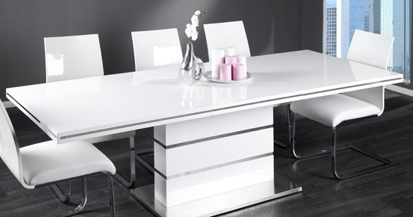 Extendable Dining Table Astor High Gloss White Brushed Stainless 160 220 Cm At Astor Brushed Dining Extendable Gloss Table White