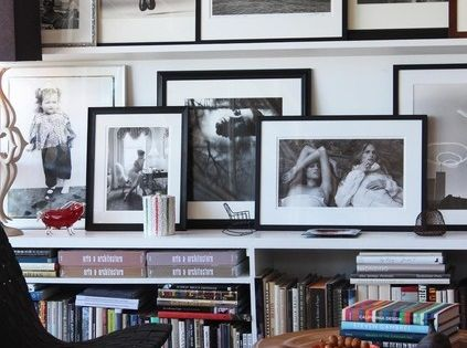 Book shelves and gallery wall - photo display