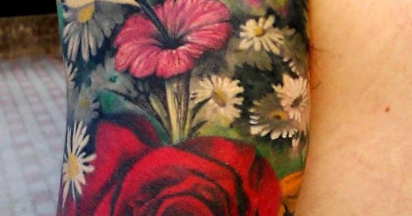 Realistic Floral Half Sleeve Tattoo - Tattoo Ideas Top Picks