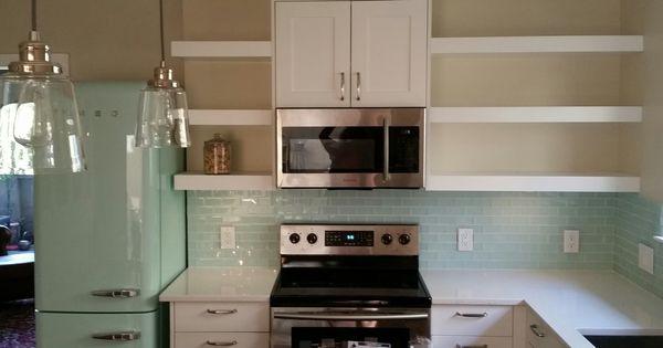 Smeg Mint Fridge Glass Tile Samsung Otr Microwave With Vent Hood White Shaker Cabinets Gl White Kitchen Rustic White Shaker Kitchen Cabinets White Kitchen Hood