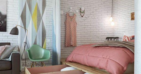 kleine wohnung einrichten tipps schlafbett schubladen ziegelwand kleines wohnen pinterest. Black Bedroom Furniture Sets. Home Design Ideas