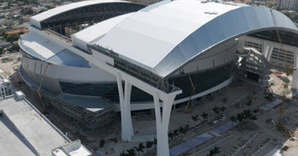 The Miami Marlins Brand New Ballpark Is Almost Done Take A Tour Here Miami Marlins Mlb Stadiums Baseball Park