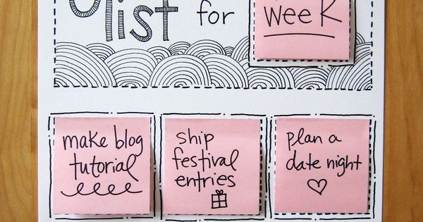 Great idea, DIY Rotating Goal List using sticky notes!