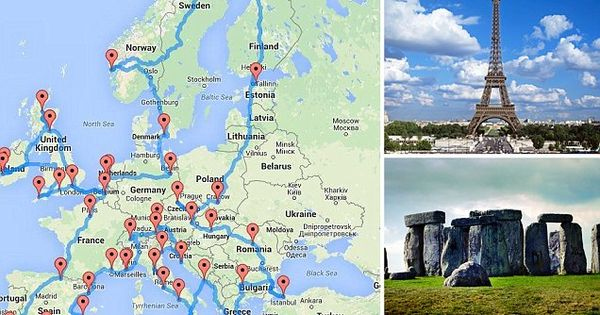 Ultimate European Road Trip Miles And Taking In Places - Map of france travel to us destination
