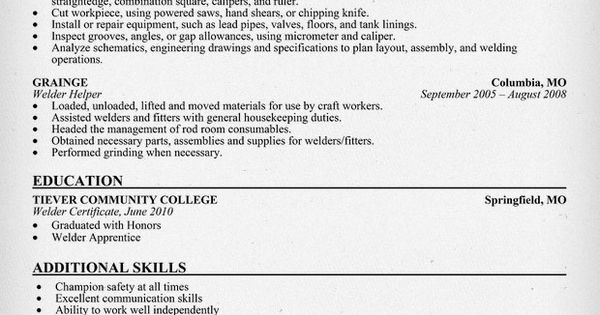 #Welder Resume Sample (resumecompanion.com) #Manufacturing