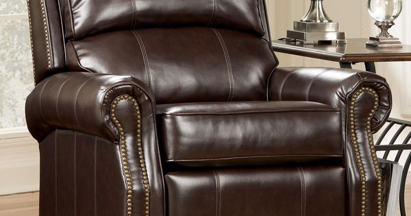 Durablend mahogany traditional low leg recliner with for Furniture hermiston or