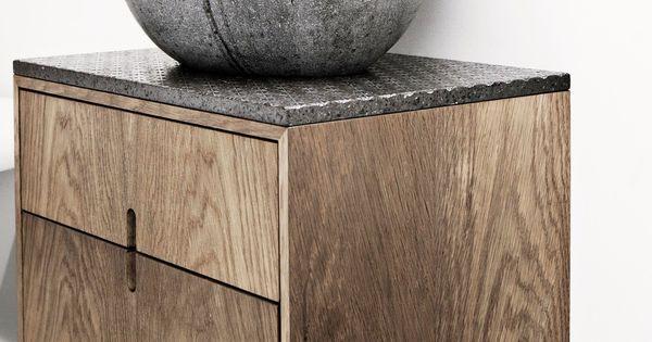 Rustic Wood Vanity Stone Sink Brass Wall Mounted