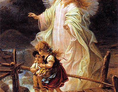 A Guardian Angel Watches Over Children Who May Be In