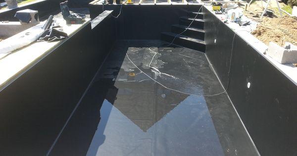 Zwemvijver met alkor zwarte vijverfolie zwembaden jr for Rechthoekige vijver aanleggen vijverfolie