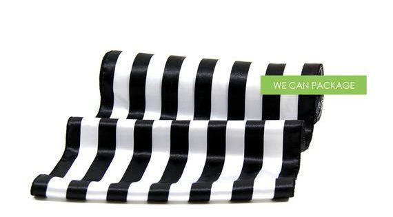 Black And White Table Runner Stripe 12 5 X 96 Silk Satin Chair Sashes Striped Table Runner Striped Table White Table
