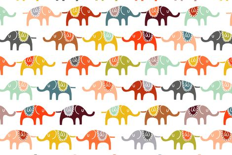 crib sheet idea: elephant march fabric by endemic on Spoonflower - custom