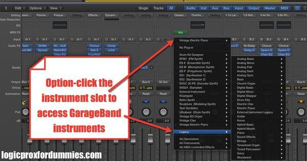 logic pro x tip option click the instrument slot to access garageband instruments logic pro. Black Bedroom Furniture Sets. Home Design Ideas