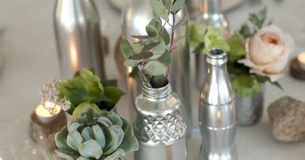 Silver Painted Jars & Bottles Centerpiece but gold instead of silver