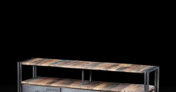 Meuble t l vison 3 tiroirs en m tal et bois recycl de for Meuble artemano