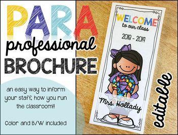 Paraprofessional Brochure Editable Paraprofessional Special Education Students Special Education Teacher