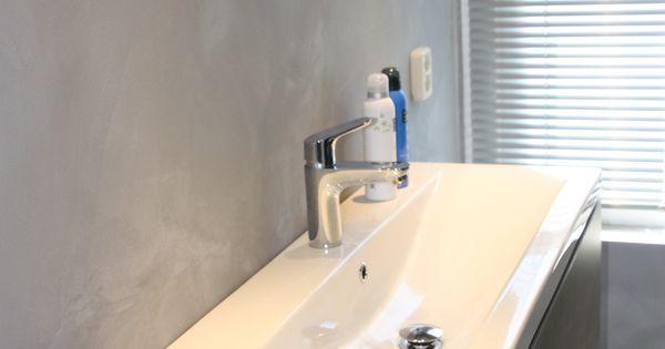 Bruun interieurontwerp badkamer te elst ook kleine badkamers kunnen beton aan betoneffect - Facing muur voor badkamer ...