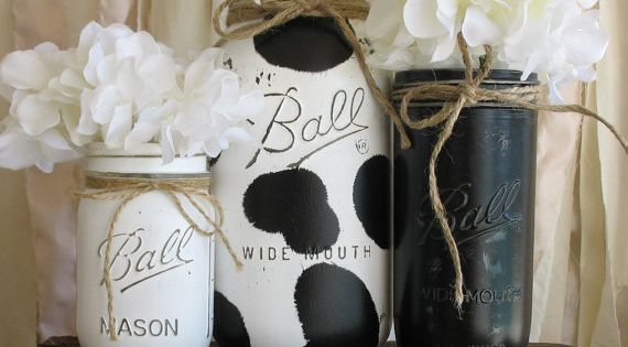 Set Of 3 Painted Mason Jars Rustic Country Cow Print Kitchen Decor Cow Print Mason Jar Black