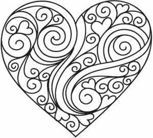 Doodle Love Image Heart Coloring Pages Free Quilling Patterns Quilling Patterns