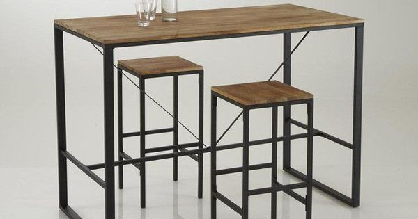 Tabouret de bar haut forme carr e hiba lot de 2 for Table haute de cuisine et tabouret
