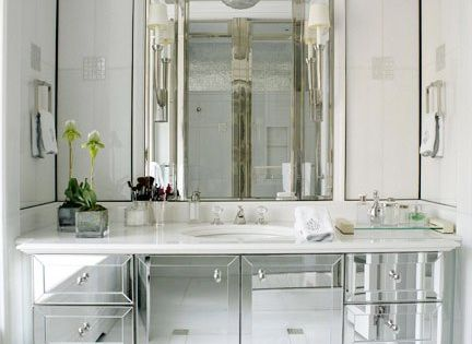 David Kleinberg Design Associates - bathrooms - mirrored, bathroom, vanity, marble, top,