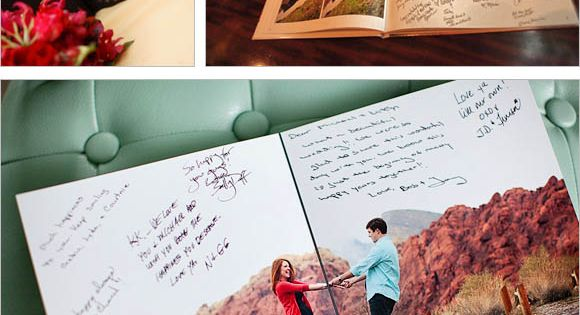 Turn engagement photos into a book and have guest sign them yearbook