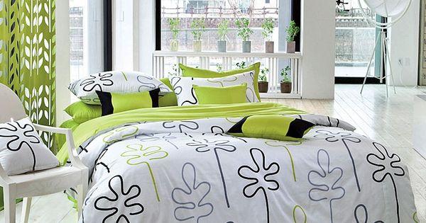 Guest Bed 1100tc Modern Lime Green Black Leaf Duvet