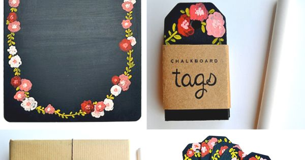 Chalkboard tags. Love the chalkboard paint on the clipboard...don't even need paper!!