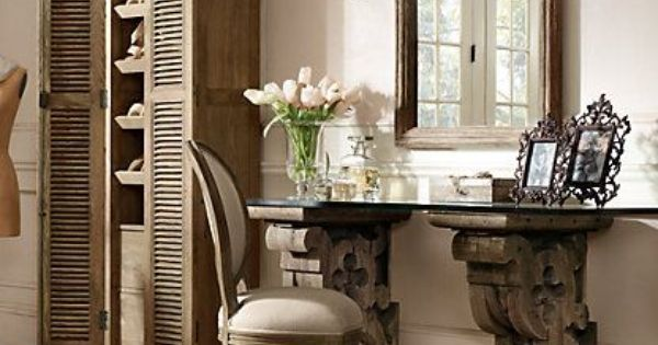 Corbel desk restoration hardware home projects pinterest restoration hardware hardware - Restoration hardware entry table ...
