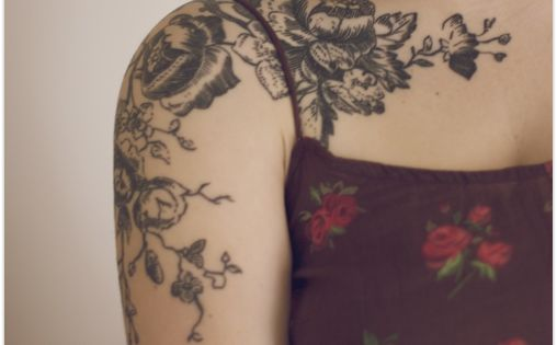 vintage flowers tattoo. if only tattoos weren't permanent.