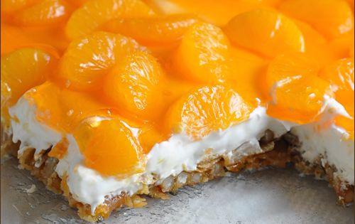Mandarin Orange Jello Cake Recipe: Mandarin Orange Pretzel Dessert