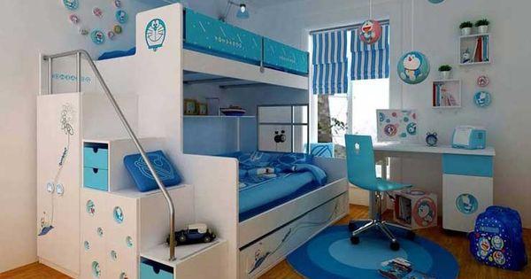 Etagenbett kind wei und blau f r kinderzimmer - Doppelstockbett mit treppe ...