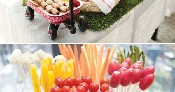 Indoor picnic food table. Cute idea for wedding reception snacks.