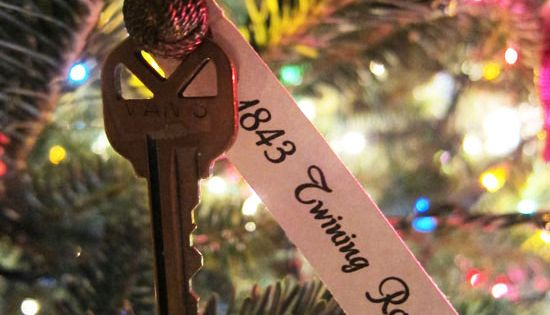 first house key as a Christmas ornament. Cute idea!