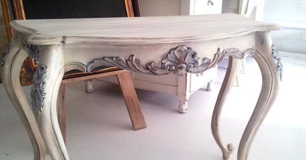 A beautiful console finished in Old White, Louis Blue and Pure White