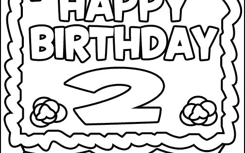 birthday coloring pages for 2nd