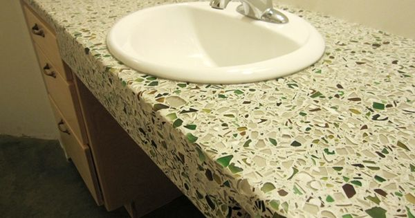 Wheelchair accessible sink with concrete and crushed glass for Crushed glass countertops