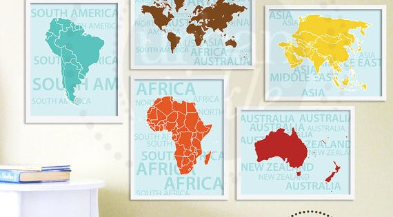 World Map Art for Nursery, Travel List and Continents, Set of Eight,