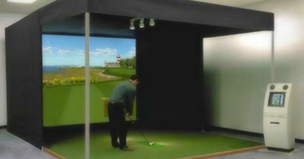 Dead solid golf inc full size golf simulator would be so for Golf simulator room dimensions