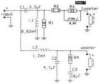 2 Way Speaker Crossover Circuit Electronic Circuit Projects Electronics Circuit Audio Crossover
