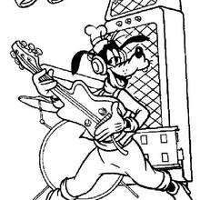 Goofy Goof Is Playing Guitar Coloring Page Disney Coloring