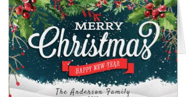 Merry Christmas Amp Happy New Year Holiday Greetings Card
