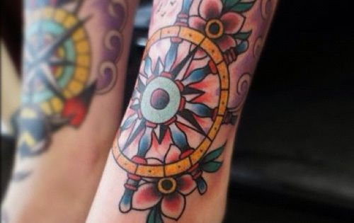 compass & ship wheel | traditional tattooing; Not all who wander are