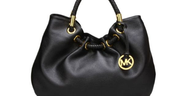 Michael Kors Pleated Opening Black Leather Satchel