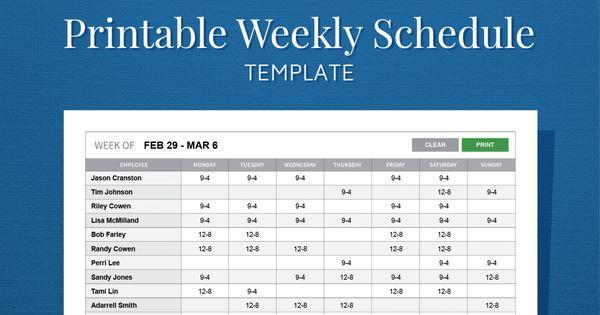 Free Printable Weekly Work Schedule Template For Employee Scheduling Schedule Templates Schedule Template Monthly Schedule Template
