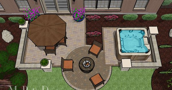 Yard Design Includes Patio Hot Tub And Fire Pit