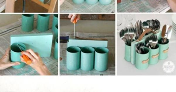 innovativegreenliving: Waste tin cans to a beautiful spoon stand. Recycling is fun,