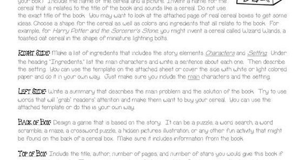 cereal book report instructions Cereal box book report for this book report, you will decorate a real cereal box with illustrations and information related to a fictional book that you will have approved by me via edmodo.