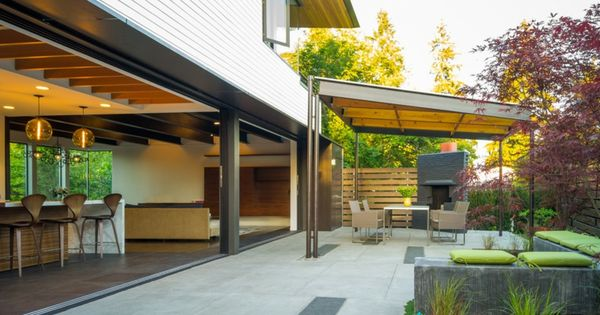 Porches De Obra Modernos Y Terrazas Cubiertas Con Estilo Diseno De Patio Moderno Patio Moderno Diseno De Patio