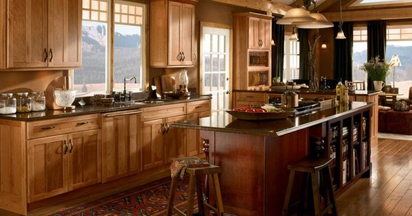 Hickory Rustic Country Kitchen Cabinets The Warm Tones Of