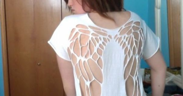 inspiration angel wings cut out on tee shirt